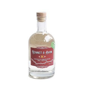 Rosehip infused gin in a round bottle with Canal boat inspired labels