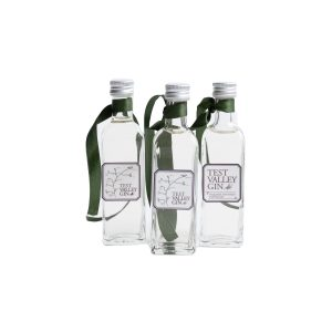 three mini glass bottles of Test Valley Gin