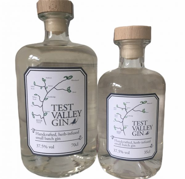 one standard bottle of Test Valley Gin and a half sized bottle.